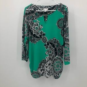 Chicos women's top size 3 green and black